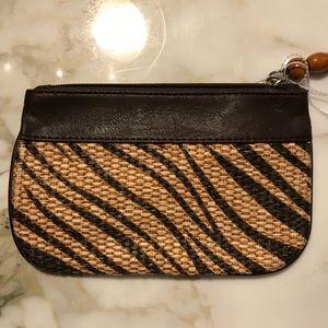 Handbags - Tiger print straw clutch with beaded zipper pull